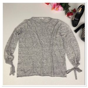 Zara Knit sweater tie sleeve cotton pullover top